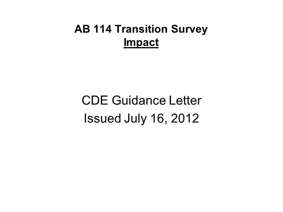 CDE Guidance Letter Issued July 16, 2012