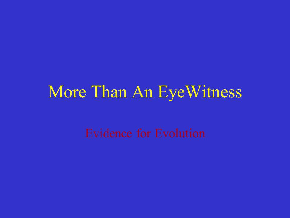 More Than An EyeWitness Evidence for Evolution