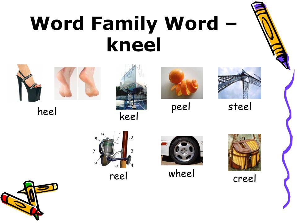 Word Family Word – kneel heel keel peelsteel reel wheel creel