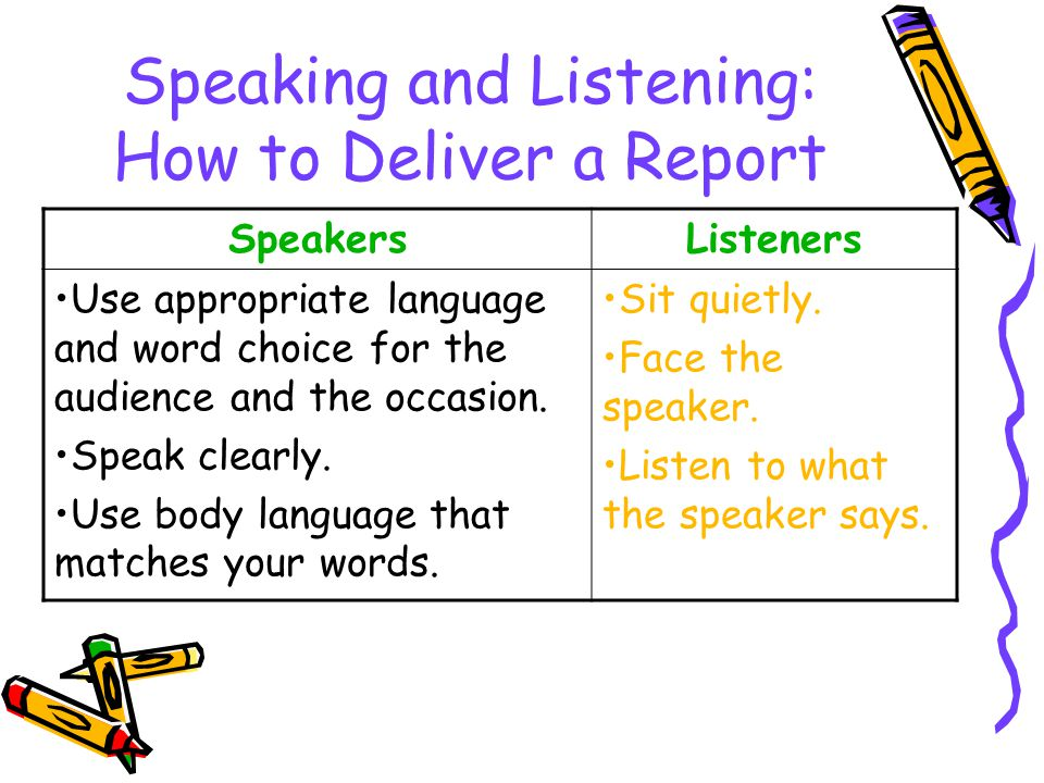 Speaking and Listening: How to Deliver a Report SpeakersListeners Use appropriate language and word choice for the audience and the occasion.