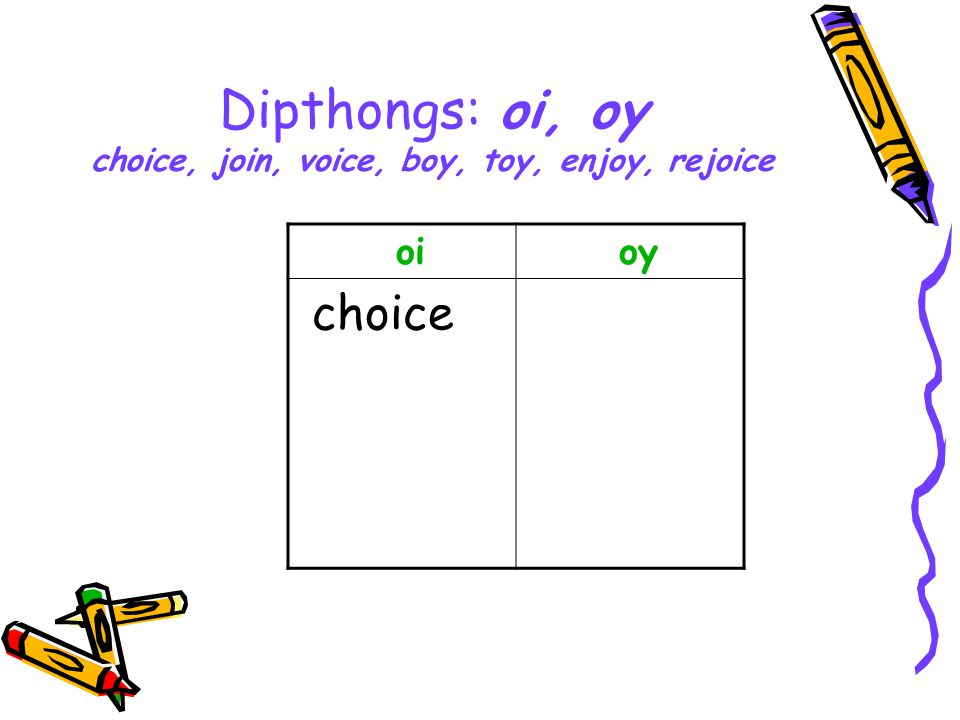 Dipthongs: oi, oy choice, join, voice, boy, toy, enjoy, rejoice oi oy choice