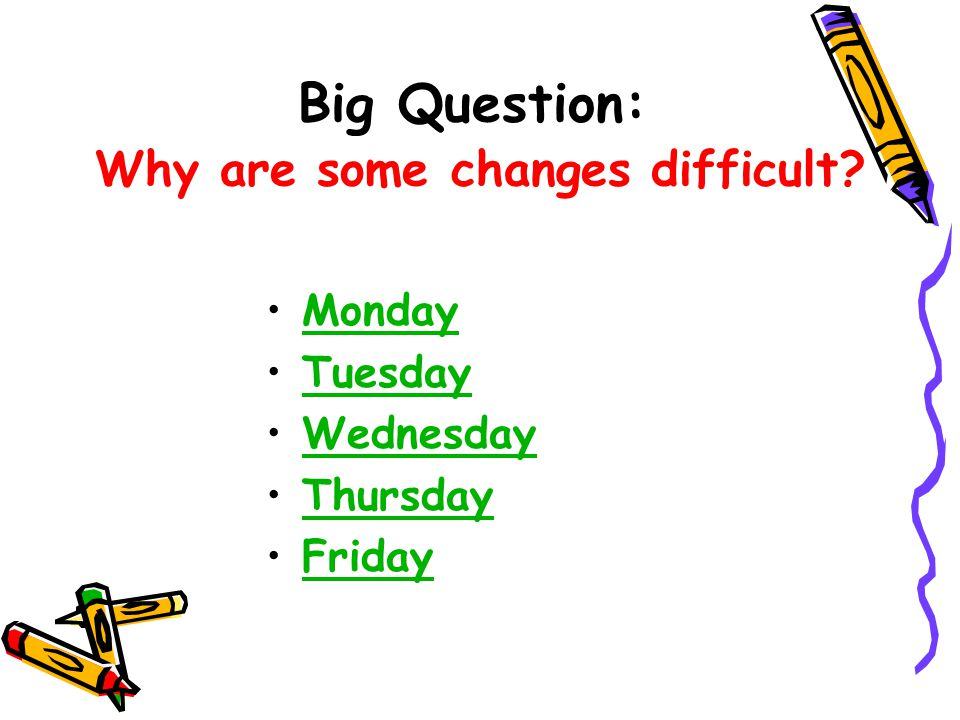 Big Question: Why are some changes difficult Monday Tuesday Wednesday Thursday Friday