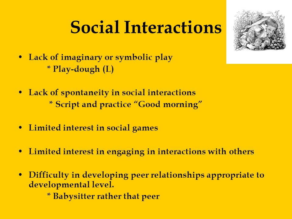 Social Interactions Lack of imaginary or symbolic play * Play-dough (L) Lack of spontaneity in social interactions * Script and practice Good morning Limited interest in social games Limited interest in engaging in interactions with others Difficulty in developing peer relationships appropriate to developmental level.
