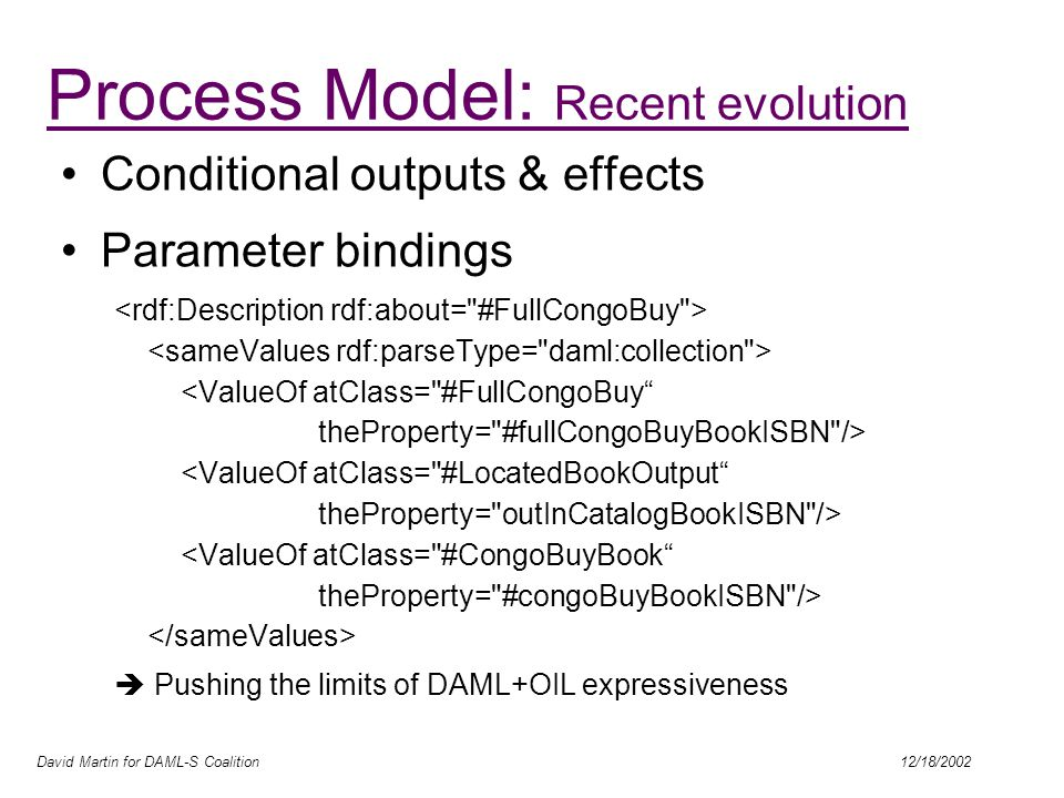 David Martin for DAML-S Coalition 12/18/2002 Conditional outputs & effects Parameter bindings  Pushing the limits of DAML+OIL expressiveness Process Model: Recent evolution