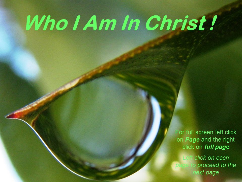 Who I Am In Christ .