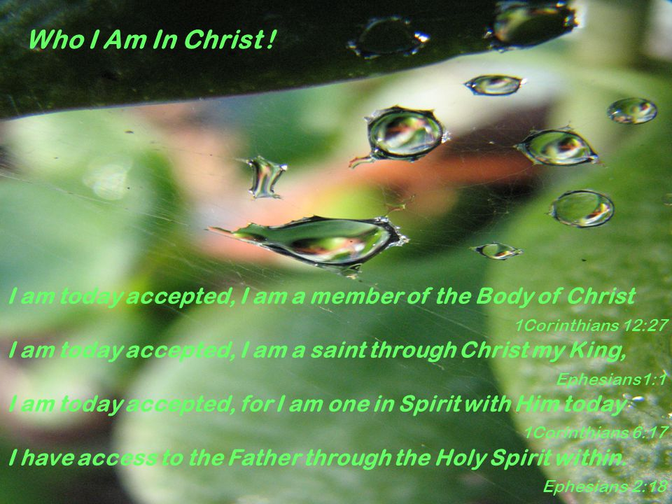 Who I Am In Christ ! I am today accepted, I am a member of the Body of Christ 1Corinthians 12:27 I am today accepted, I am a saint through Christ my K