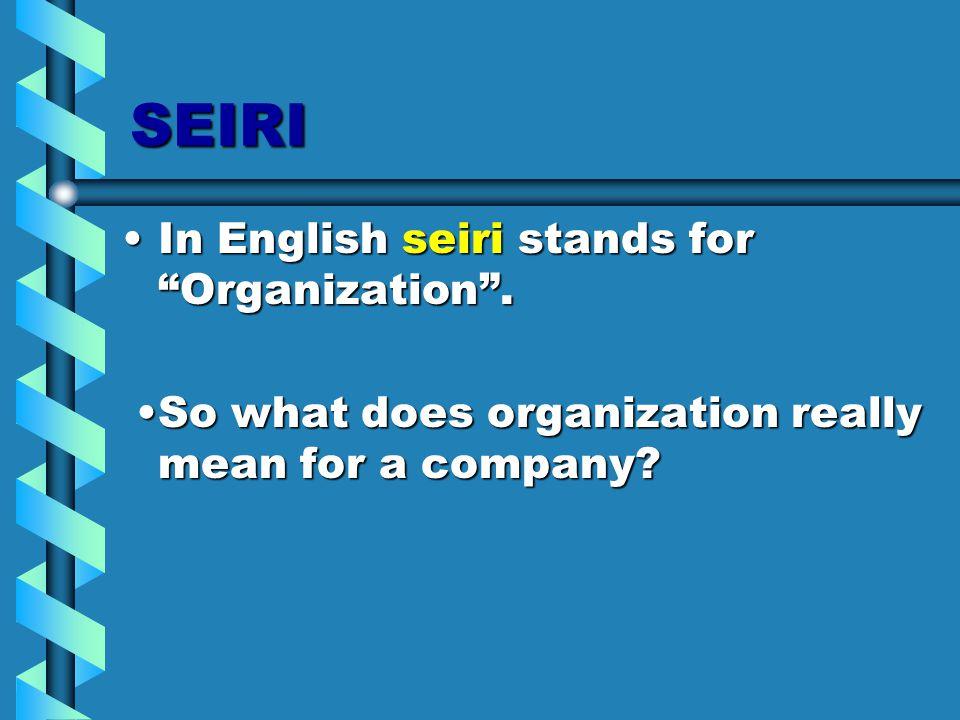SEIRI In English seiri stands for Organization .In English seiri stands for Organization .