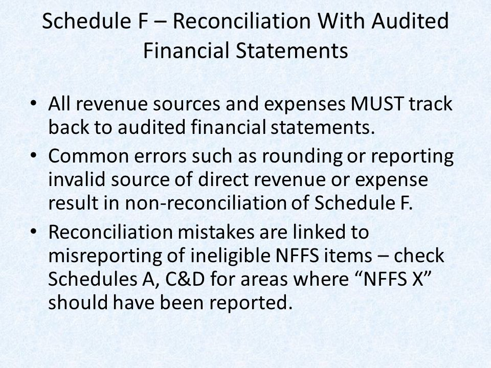 Schedule F – Reconciliation With Audited Financial Statements All revenue sources and expenses MUST track back to audited financial statements.