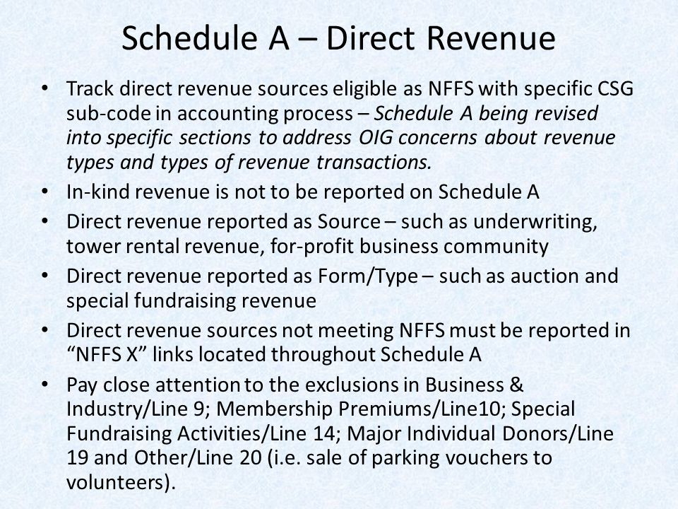 Schedule A – Direct Revenue Track direct revenue sources eligible as NFFS with specific CSG sub-code in accounting process – Schedule A being revised into specific sections to address OIG concerns about revenue types and types of revenue transactions.
