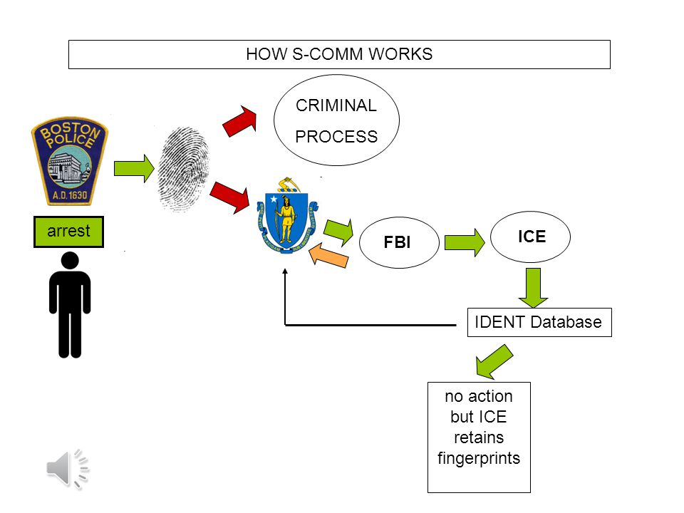 arrest CRIMINAL PROCESS ICE IDENT Database HOW S-COMM WORKS FBI