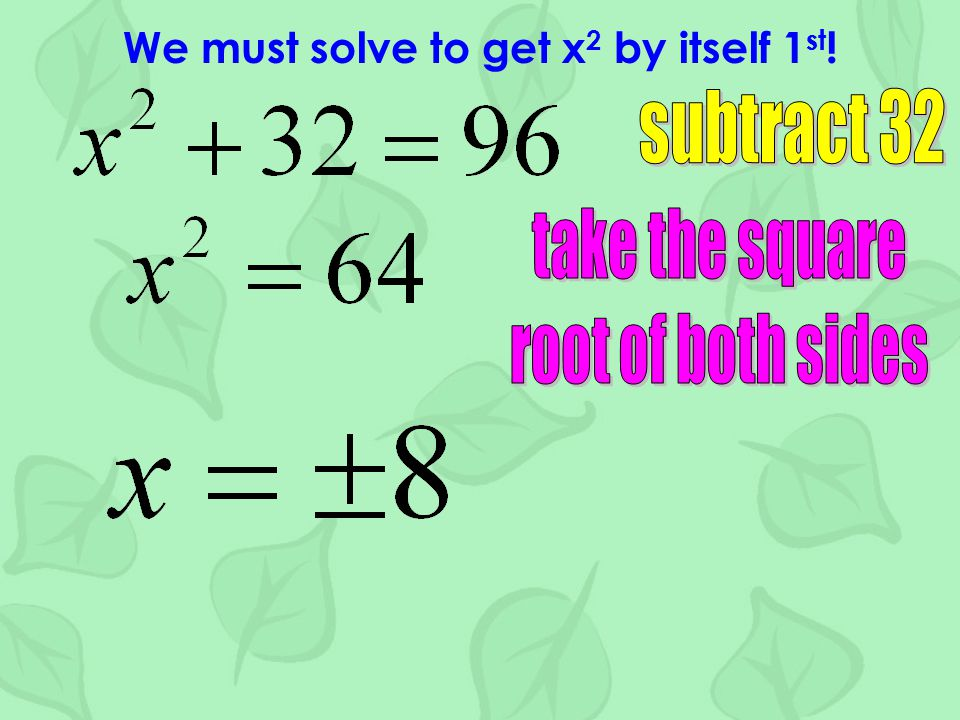We must solve to get x 2 by itself 1 st !