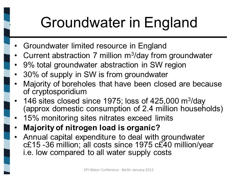 Groundwater in England Groundwater limited resource in England Current abstraction 7 million m 3 /day from groundwater 9% total groundwater abstraction in SW region 30% of supply in SW is from groundwater Majority of boreholes that have been closed are because of cryptosporidium 146 sites closed since 1975; loss of 425,000 m 3 /day (approx domestic consumption of 2.4 million households) 15% monitoring sites nitrates exceed limits Majority of nitrogen load is organic.
