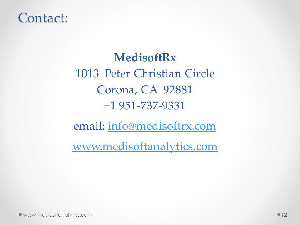 www.medisoftanalytics.com12 MedisoftRx 1013 Peter Christian Circle Corona, CA 92881 +1 951-737-9331 email: info@medisoftrx.cominfo@medisoftrx.com www.medisoftanalytics.comContact: