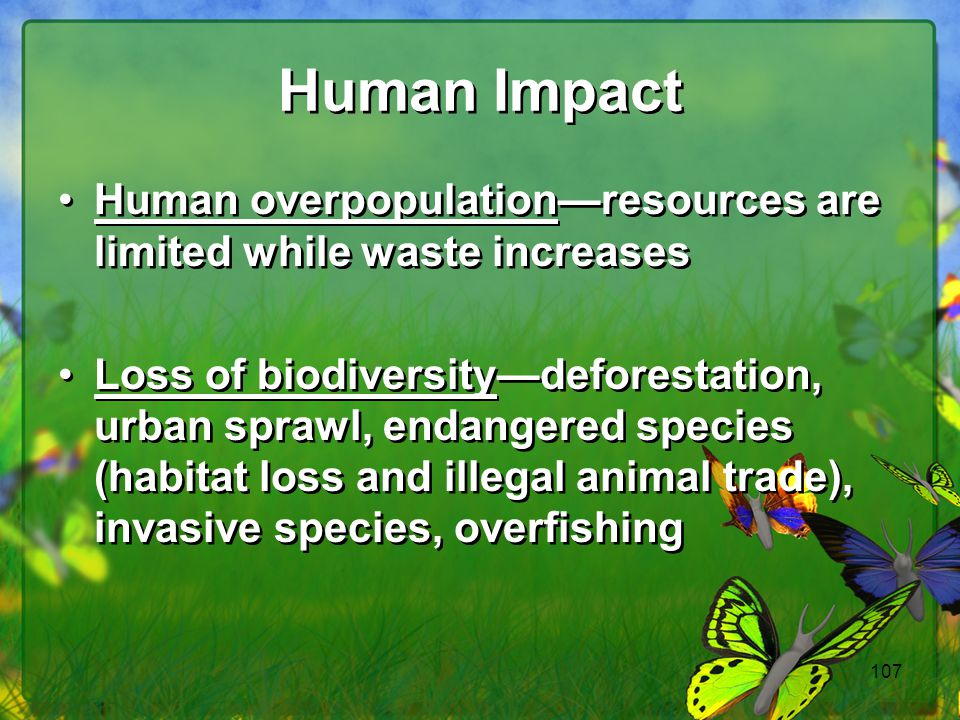 107 Human Impact Human overpopulation—resources are limited while waste increases Loss of biodiversity—deforestation, urban sprawl, endangered species