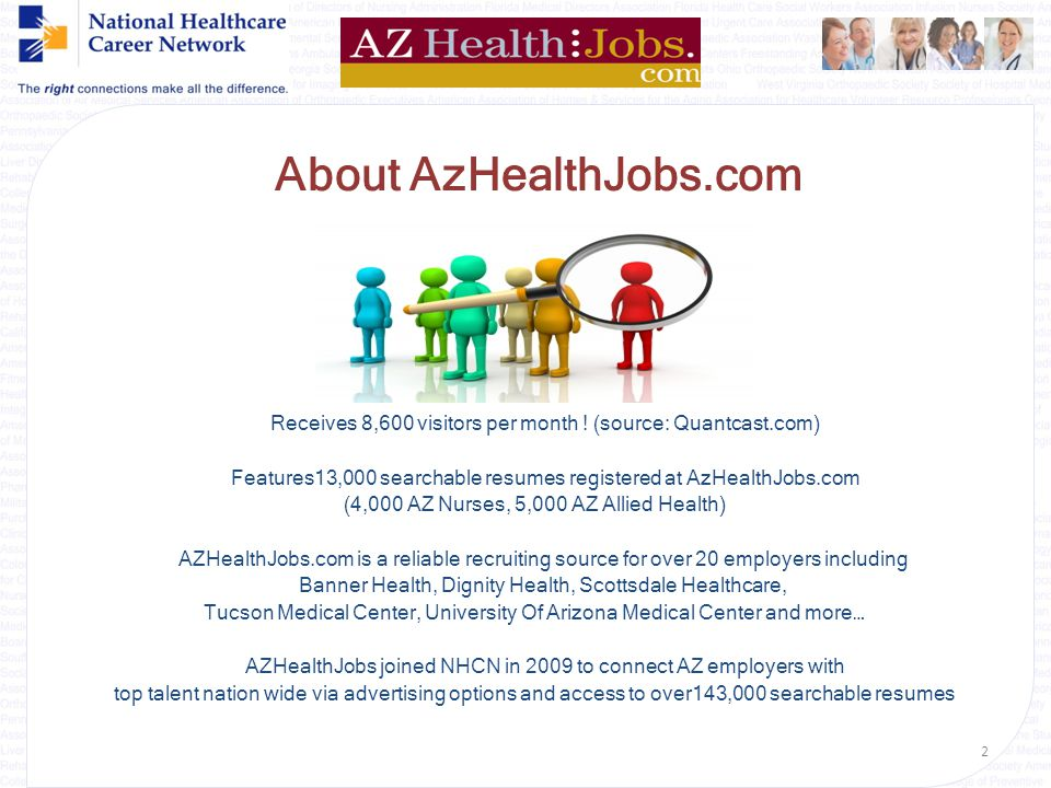 {Welcome} AZHealthJobs.com* & National Healthcare Career Network Your One-Click Solution to Connect with Recruiting ROI * AZHealthJobs is a service of