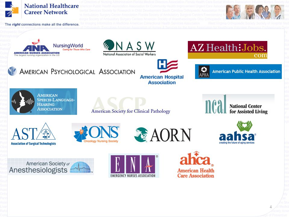 {Welcome} About National Healthcare Career Network (NHCN) Integrated alliance of nearly 300 healthcare professional societies & trade associations wit
