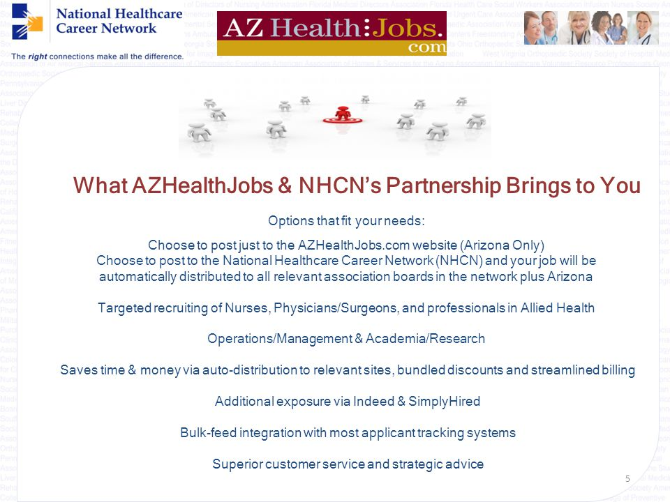 What AZHealthJobs & NHCN's Partnership Brings to You Options that fit your needs: Choose to post just to the AZHealthJobs.com website (Arizona Only) Choose to post to the National Healthcare Career Network (NHCN) and your job will be automatically distributed to all relevant association boards in the network plus Arizona Targeted recruiting of Nurses, Physicians/Surgeons, and professionals in Allied Health Operations/Management & Academia/Research Saves time & money via auto-distribution to relevant sites, bundled discounts and streamlined billing Additional exposure via Indeed & SimplyHired Bulk-feed integration with most applicant tracking systems Superior customer service and strategic advice 5