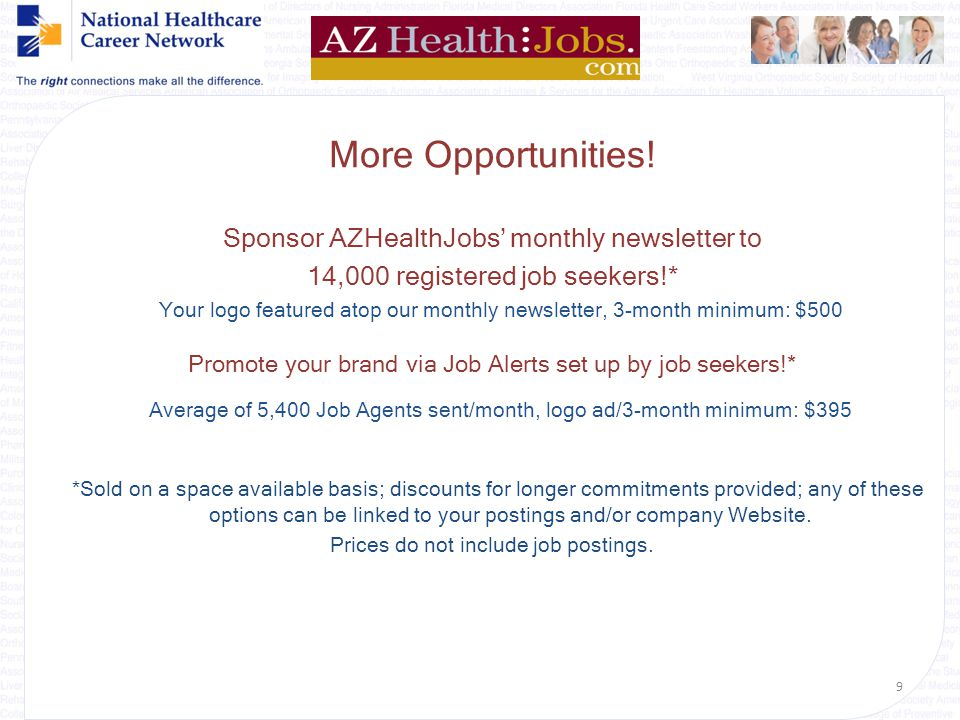 {Welcome} Additional Options Single, 30-Day Job Postings AZHealthJobs only: $225 or *Discounts Available for Local Bulk Posting (Az only) for an entir