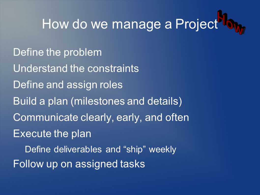 How do we manage a Project Define the problem Understand the constraints Define and assign roles Build a plan (milestones and details) Communicate clearly, early, and often Execute the plan Define deliverables and ship weekly Follow up on assigned tasks