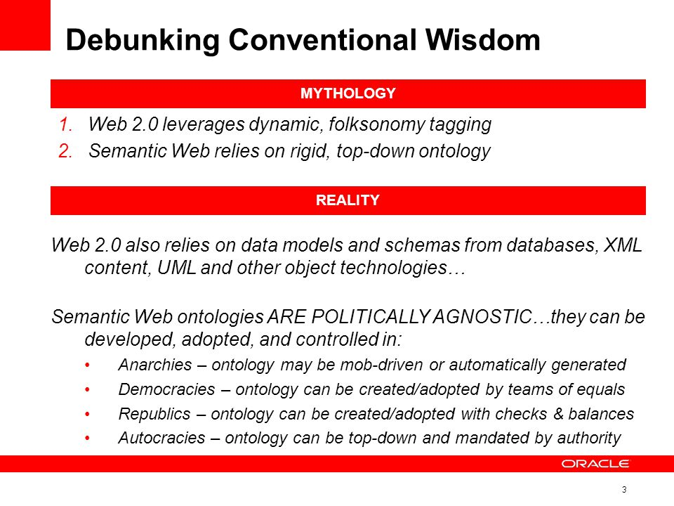 3 Debunking Conventional Wisdom MYTHOLOGY 1.Web 2.0 leverages dynamic, folksonomy tagging 2.Semantic Web relies on rigid, top-down ontology REALITY Web 2.0 also relies on data models and schemas from databases, XML content, UML and other object technologies… Semantic Web ontologies ARE POLITICALLY AGNOSTIC…they can be developed, adopted, and controlled in: Anarchies – ontology may be mob-driven or automatically generated Democracies – ontology can be created/adopted by teams of equals Republics – ontology can be created/adopted with checks & balances Autocracies – ontology can be top-down and mandated by authority