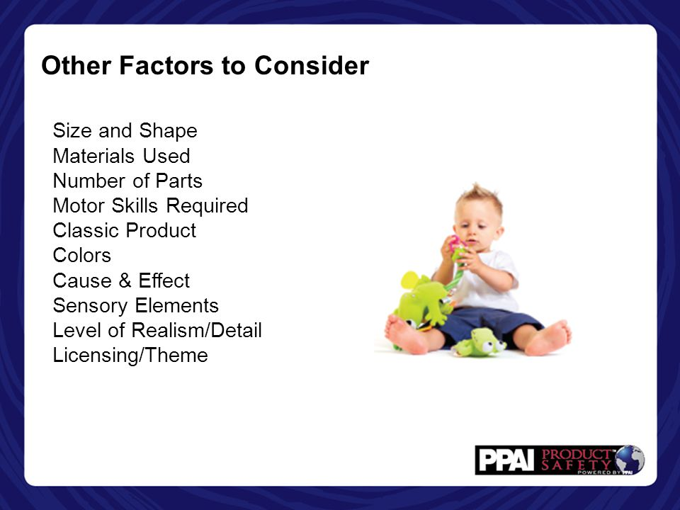 Other Factors to Consider Size and Shape Materials Used Number of Parts Motor Skills Required Classic Product Colors Cause & Effect Sensory Elements Level of Realism/Detail Licensing/Theme