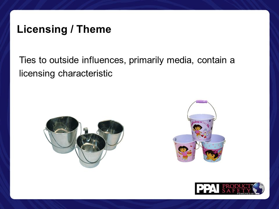 Licensing / Theme Ties to outside influences, primarily media, contain a licensing characteristic