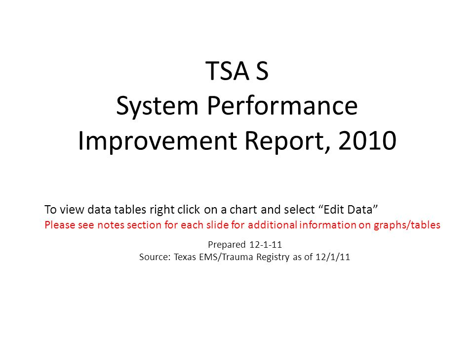 TSA S System Performance Improvement Report, 2010 To view data tables right click on a chart and select Edit Data Please see notes section for each slide for additional information on graphs/tables Prepared 12-1-11 Source: Texas EMS/Trauma Registry as of 12/1/11