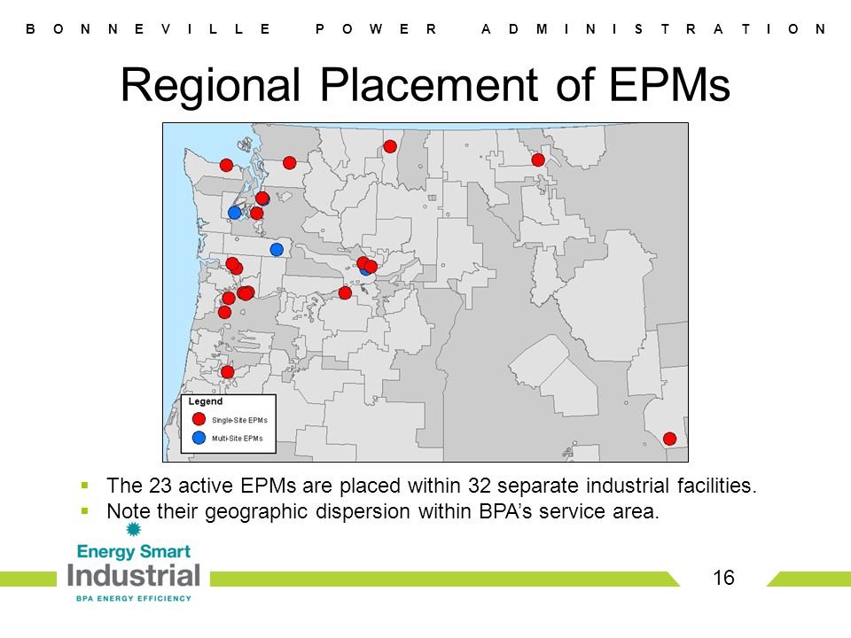 B O N N E V I L L E P O W E R A D M I N I S T R A T I O N Regional Placement of EPMs 16  The 23 active EPMs are placed within 32 separate industrial facilities.
