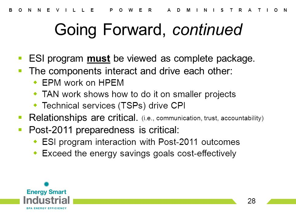 B O N N E V I L L E P O W E R A D M I N I S T R A T I O N 28 Going Forward, continued  ESI program must be viewed as complete package.