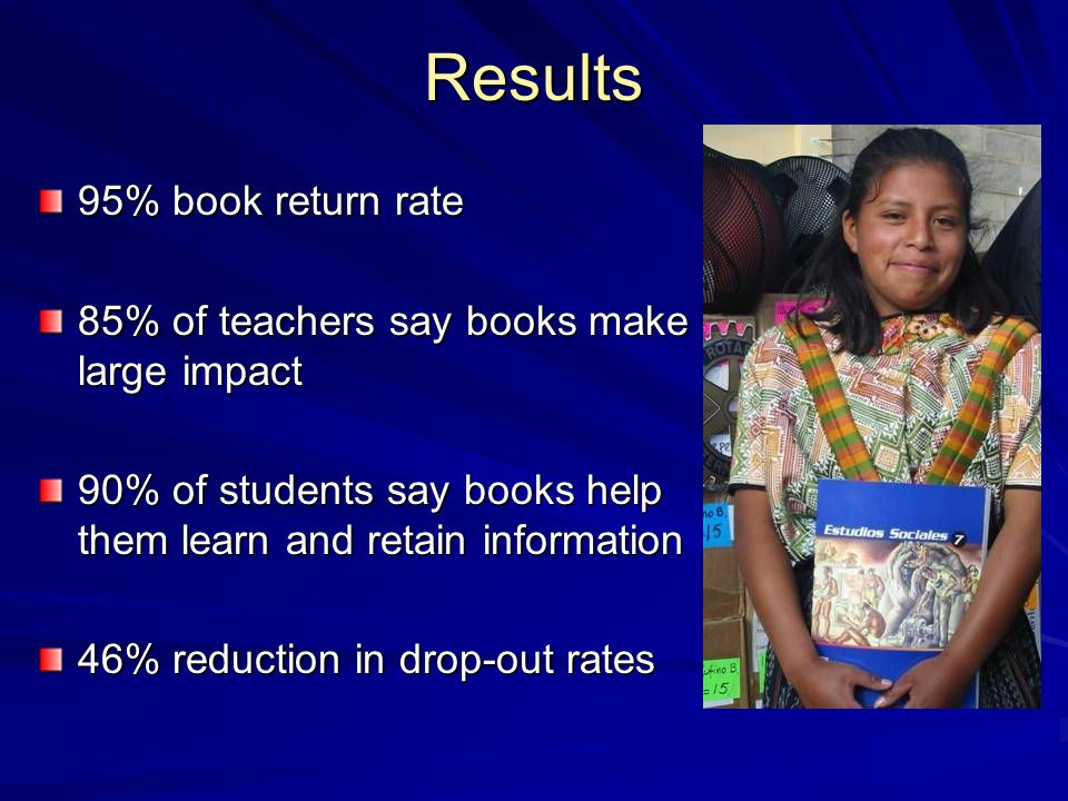 Results 95% book return rate 85% of teachers say books make large impact 90% of students say books help them learn and retain information 46% reduction in drop-out rates