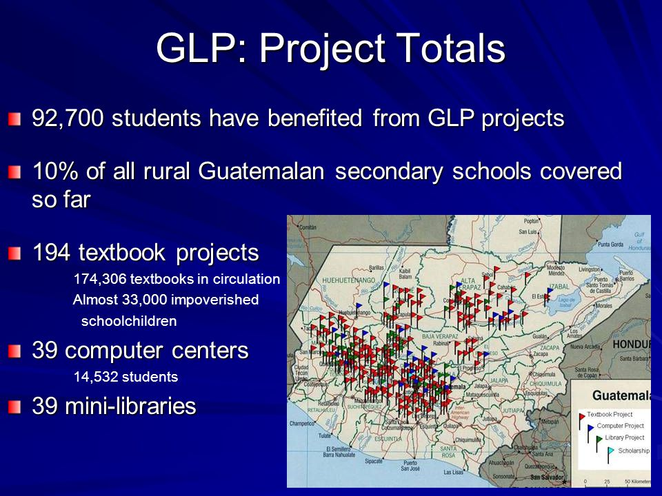 GLP The project focuses on secondary schools as they have traditionally been overlooked by the international development community (most education projects focus on primary school students).