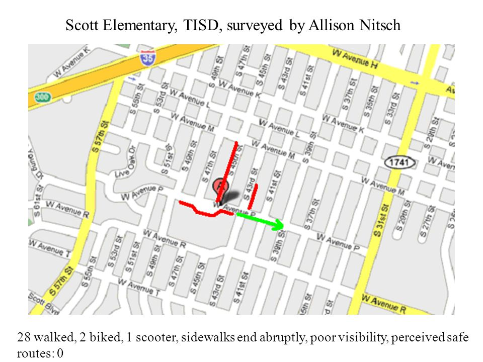 Scott Elementary, TISD, surveyed by Allison Nitsch 28 walked, 2 biked, 1 scooter, sidewalks end abruptly, poor visibility, perceived safe routes: 0