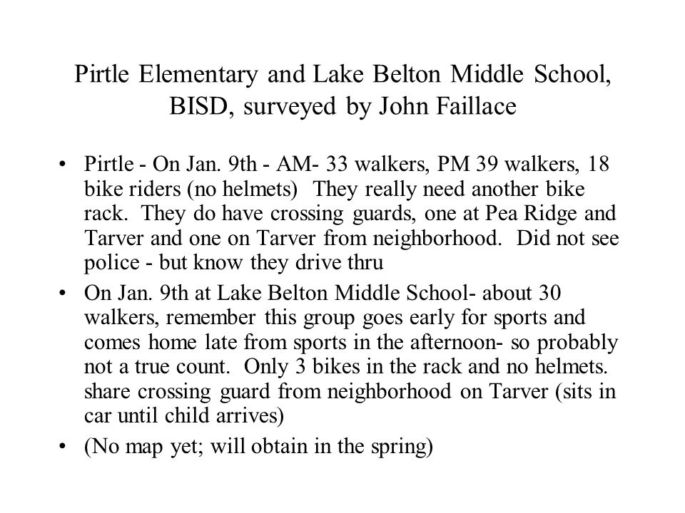 Pirtle Elementary and Lake Belton Middle School, BISD, surveyed by John Faillace Pirtle - On Jan.