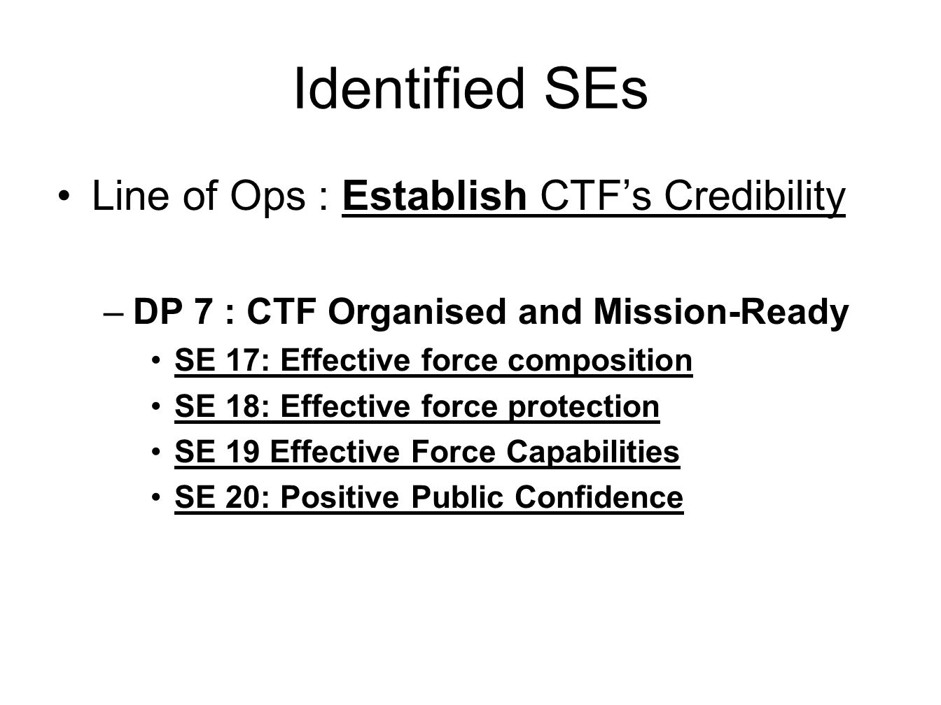 Identified SEs Line of Ops : Establish CTF's Credibility –DP 7 : CTF Organised and Mission-Ready SE 17: Effective force composition SE 18: Effective force protection SE 19 Effective Force Capabilities SE 20: Positive Public Confidence