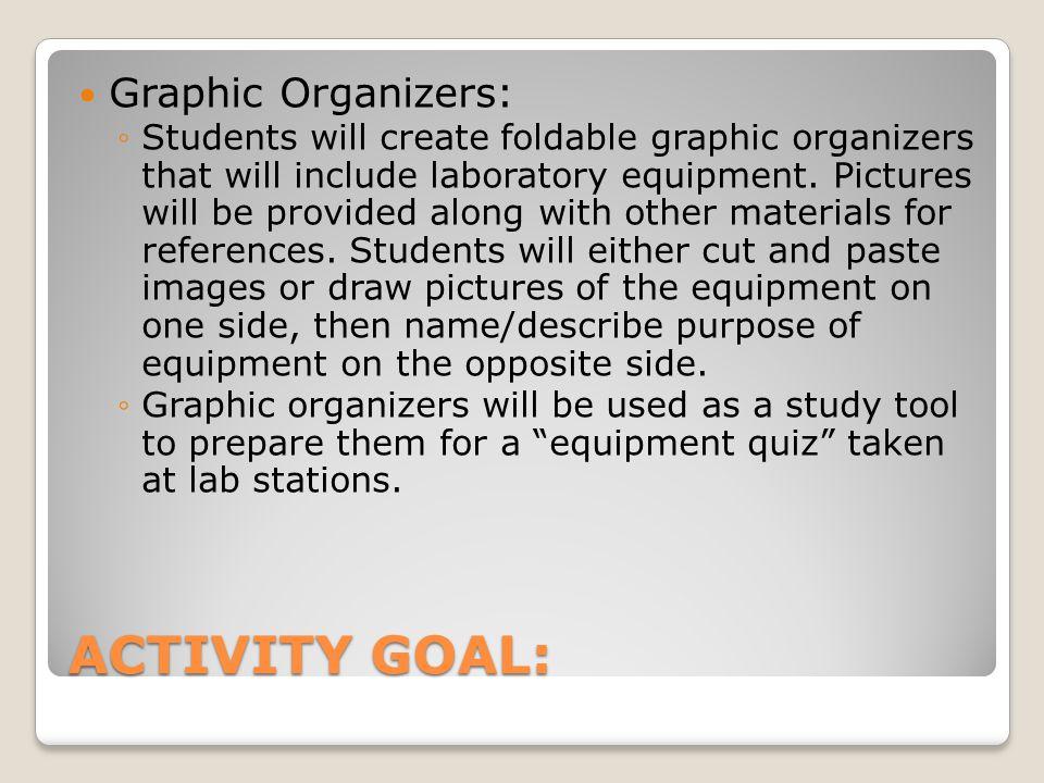 ACTIVITY GOAL: Graphic Organizers: ◦Students will create foldable graphic organizers that will include laboratory equipment.