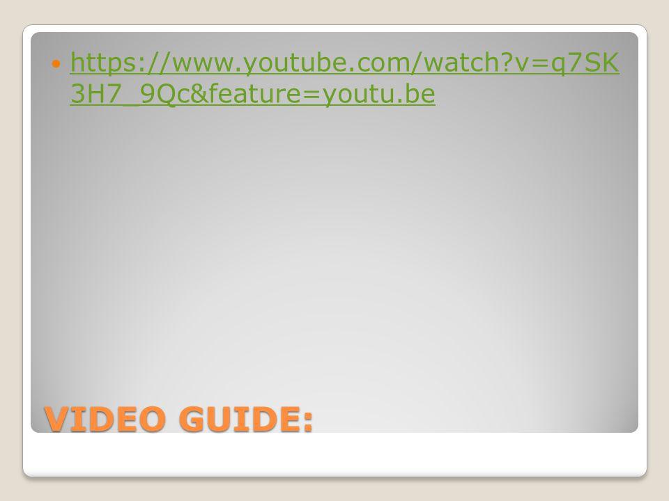 VIDEO GUIDE: https://www.youtube.com/watch v=q7SK 3H7_9Qc&feature=youtu.be https://www.youtube.com/watch v=q7SK 3H7_9Qc&feature=youtu.be
