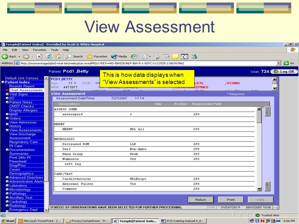 "View Assessment This is how data displays when ""View Assessments"" is selected"
