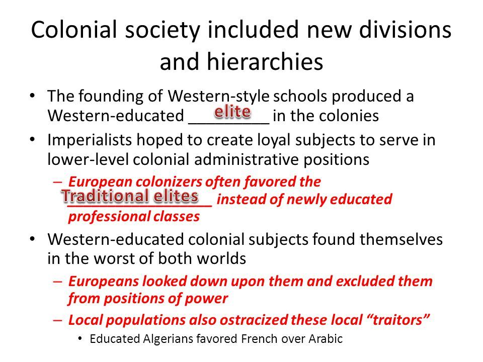 Colonial society included new divisions and hierarchies The founding of Western-style schools produced a Western-educated _________ in the colonies Im
