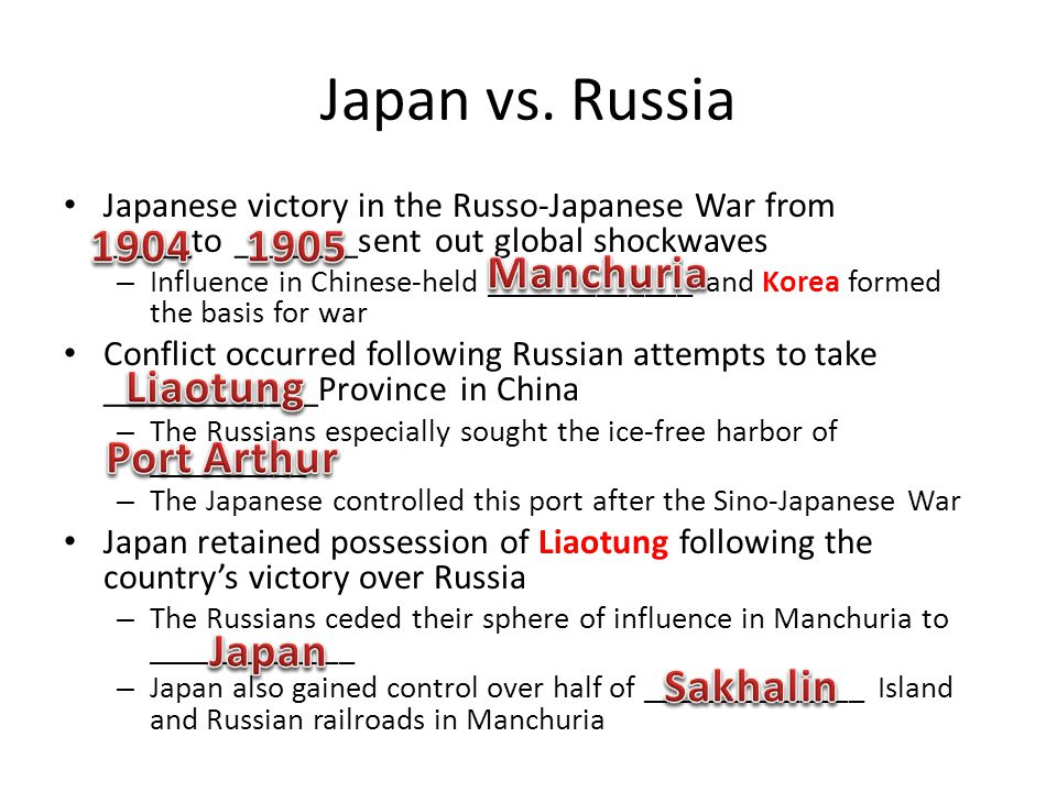 Japan vs. Russia Japanese victory in the Russo-Japanese War from _____to _______sent out global shockwaves – Influence in Chinese-held _____________ a