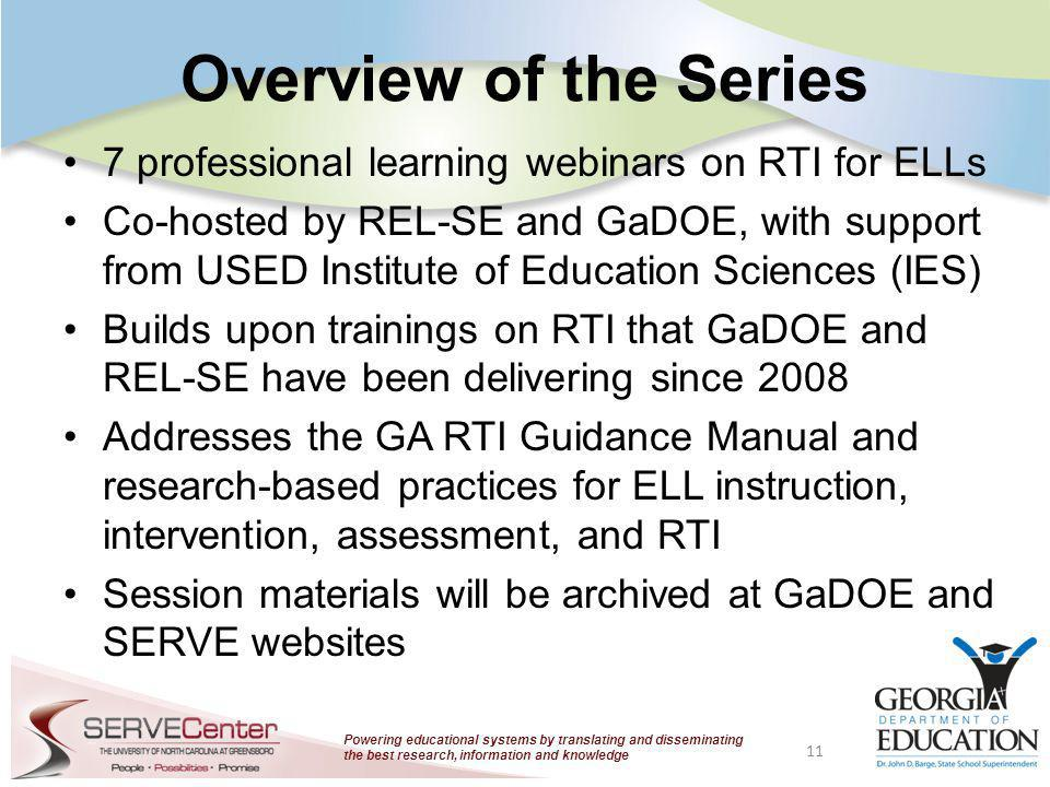 Powering educational systems by translating and disseminating the best research, information and knowledge Overview of the Series 7 professional learn
