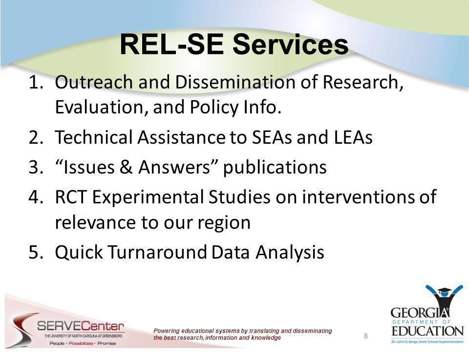 Powering educational systems by translating and disseminating the best research, information and knowledge REL-SE Services 1.Outreach and Disseminatio