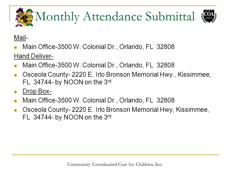 Monthly Attendance Submittal Mail- Main Office-3500 W.