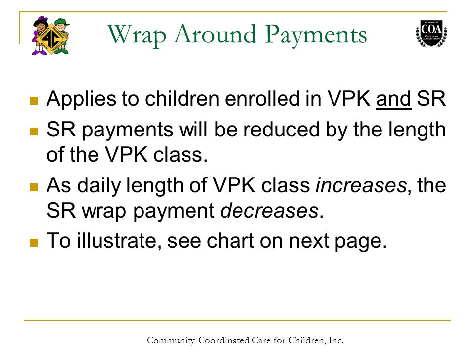 Wrap Around Payments Applies to children enrolled in VPK and SR SR payments will be reduced by the length of the VPK class.