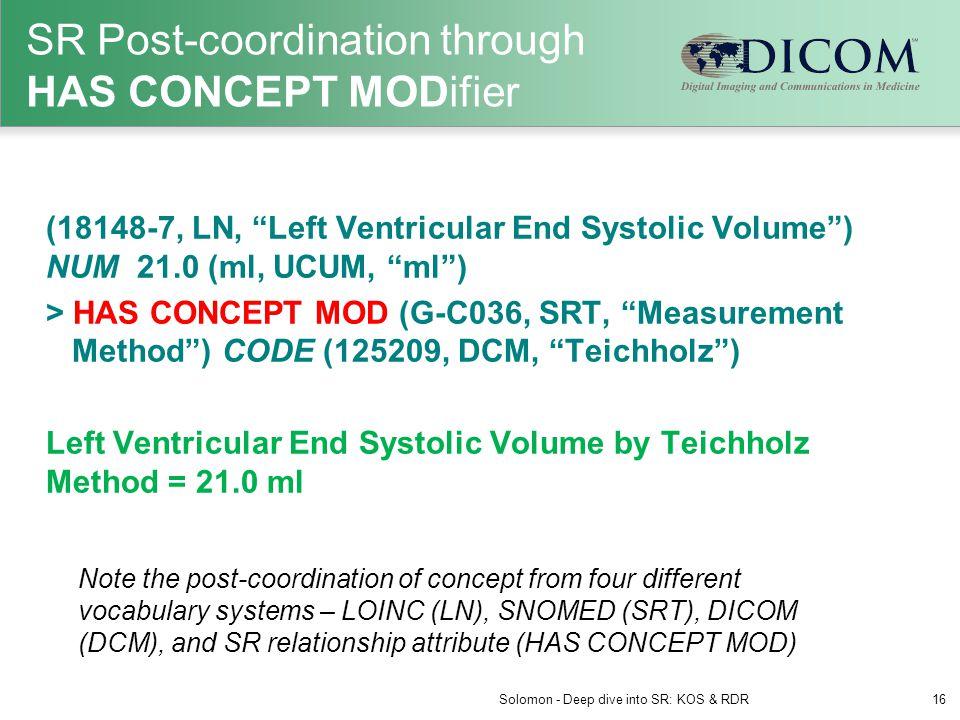 "SR Post-coordination through HAS CONCEPT MODifier (18148-7, LN, ""Left Ventricular End Systolic Volume"") NUM 21.0 (ml, UCUM, ""ml"") > HAS CONCEPT MOD (G"