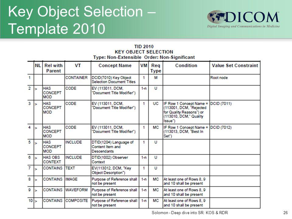 Key Object Selection – Template 2010 Solomon - Deep dive into SR: KOS & RDR26