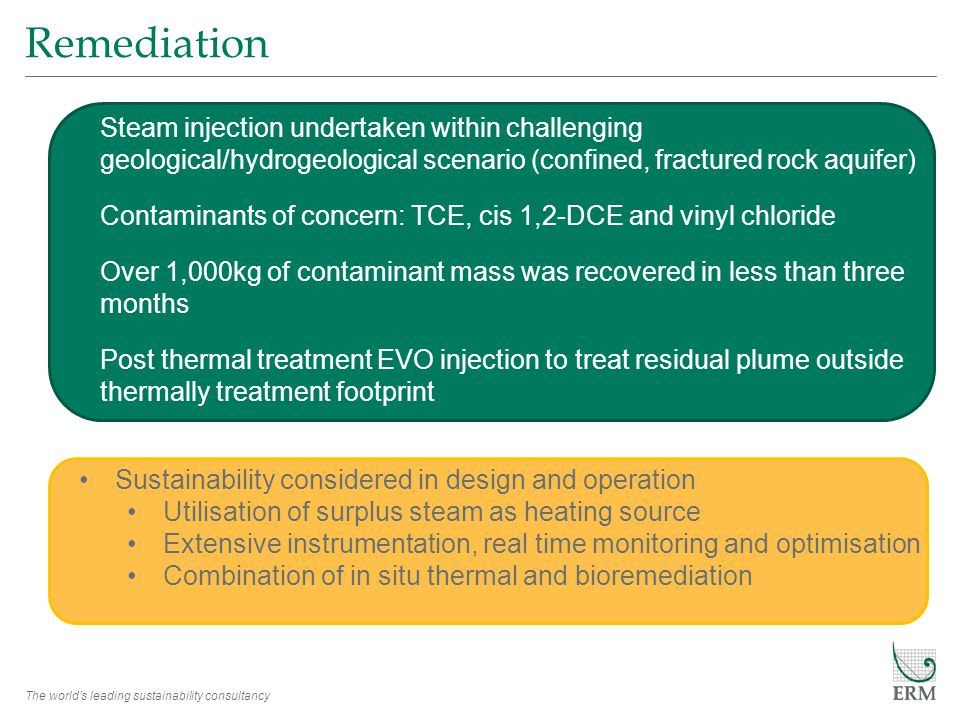 The world's leading sustainability consultancy Remediation Steam injection undertaken within challenging geological/hydrogeological scenario (confined, fractured rock aquifer) Contaminants of concern: TCE, cis 1,2-DCE and vinyl chloride Over 1,000kg of contaminant mass was recovered in less than three months Post thermal treatment EVO injection to treat residual plume outside thermally treatment footprint Sustainability considered in design and operation Utilisation of surplus steam as heating source Extensive instrumentation, real time monitoring and optimisation Combination of in situ thermal and bioremediation