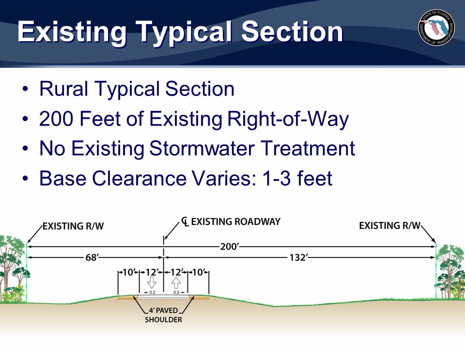 Existing Typical Section Rural Typical Section 200 Feet of Existing Right-of-Way No Existing Stormwater Treatment Base Clearance Varies: 1-3 feet