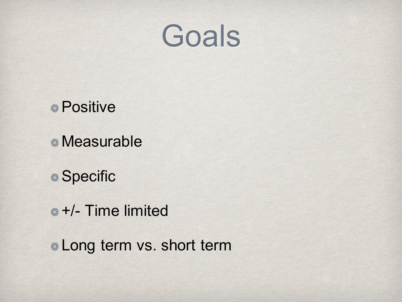 Goals Positive Measurable Specific +/- Time limited Long term vs. short term