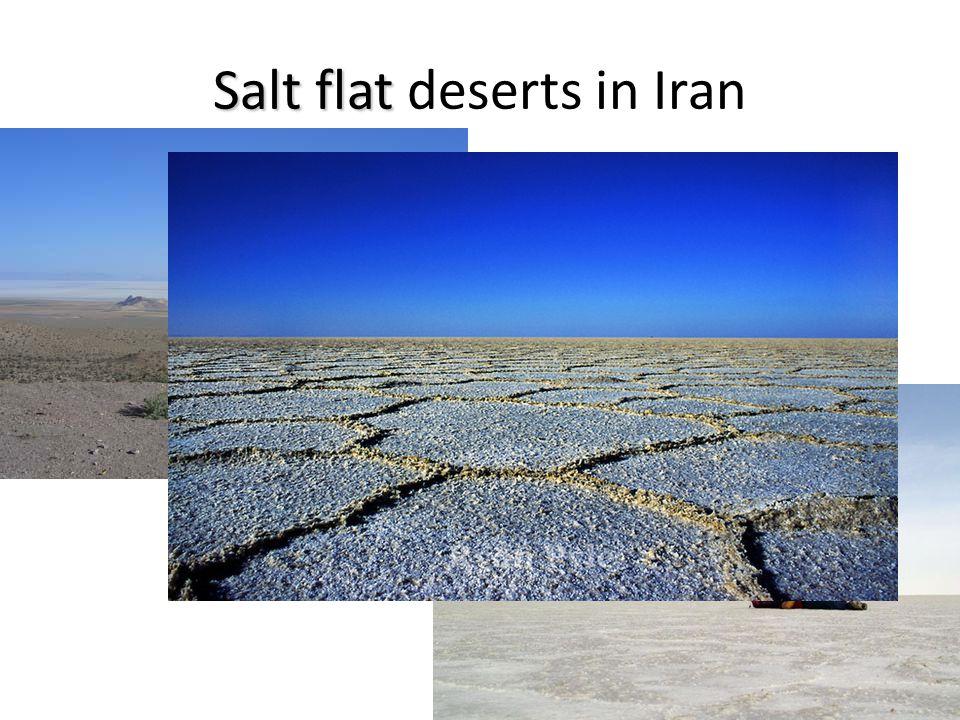 Salt flat Salt flat deserts in Iran In Iran, the high mountains block rain, and dry winds increase evaporation creating salt flat deserts