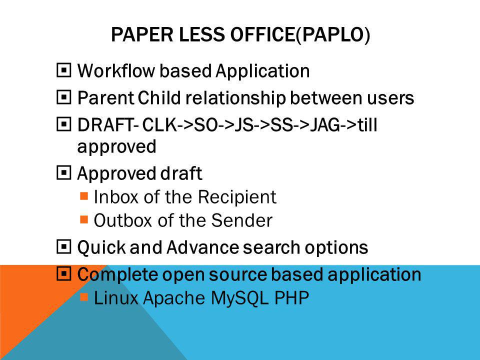 PAPER LESS OFFICE(PAPLO)  Workflow based Application  Parent Child relationship between users  DRAFT- CLK->SO->JS->SS->JAG->till approved  Approve